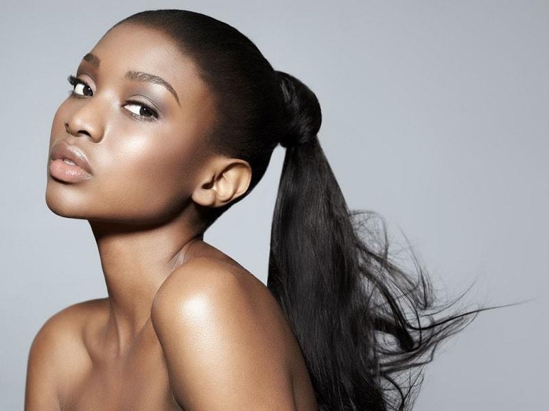 Sleek Knotted Ponytail for Black Girl