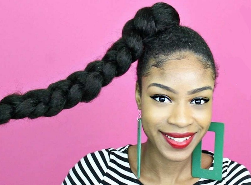 thick braided ponytail for black girl