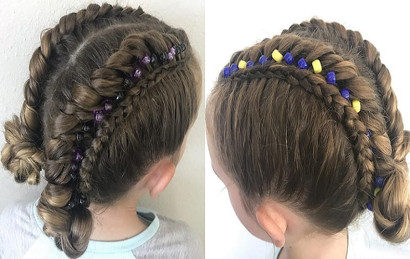 braided double bun with beads for little girls