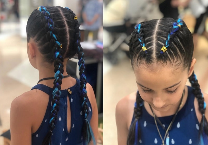 double french braids with beads for little girls