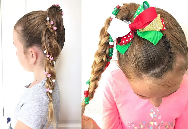 ponytail hairstyles with beads for little girls