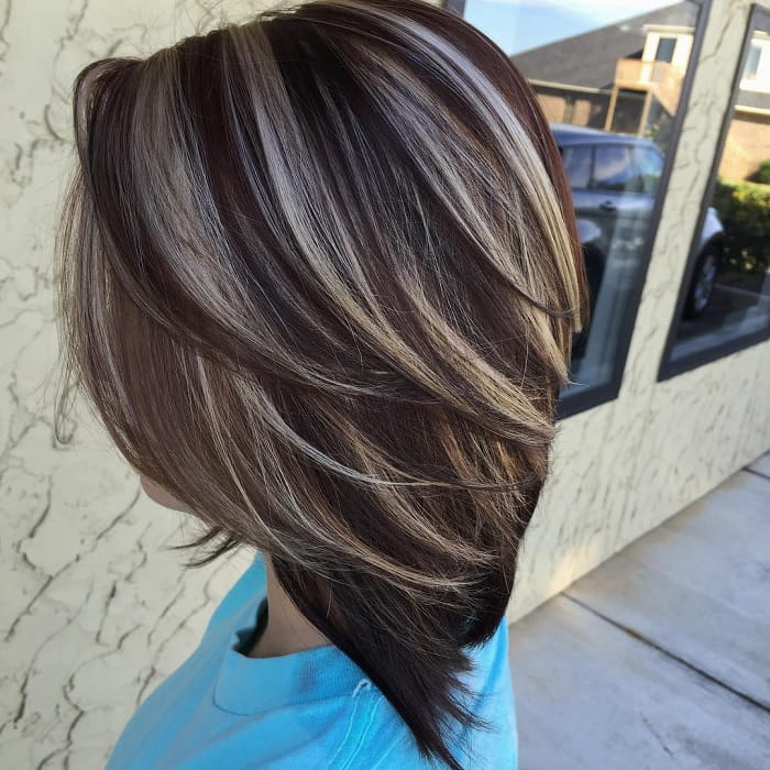 chunky highlights with layered haircut