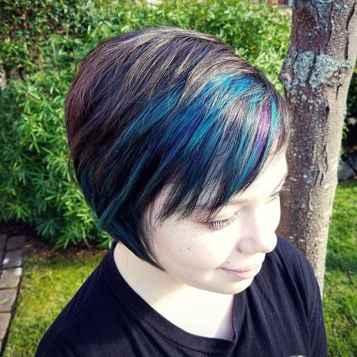girl with choppy layered pixie cut