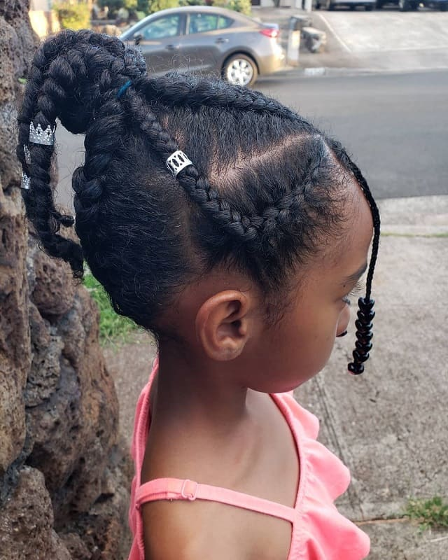 Thick Braided ponytail with Beads for black little girls