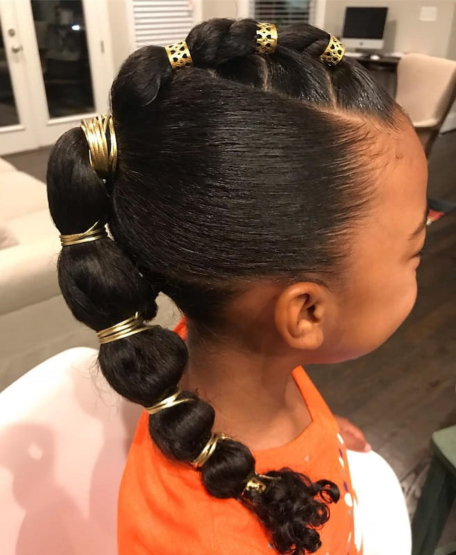 Bubble ponytail for little black girl