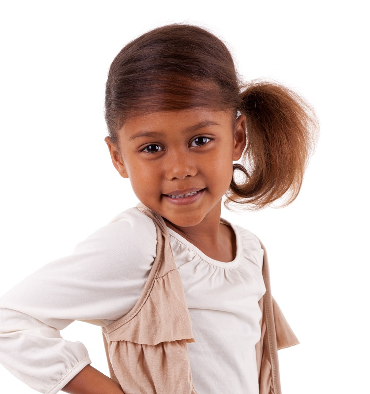 little black girl with side ponytail
