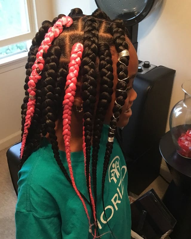funky box braids hairstyles for little girls