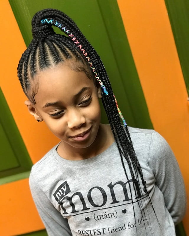 box braided ponytail for little girls