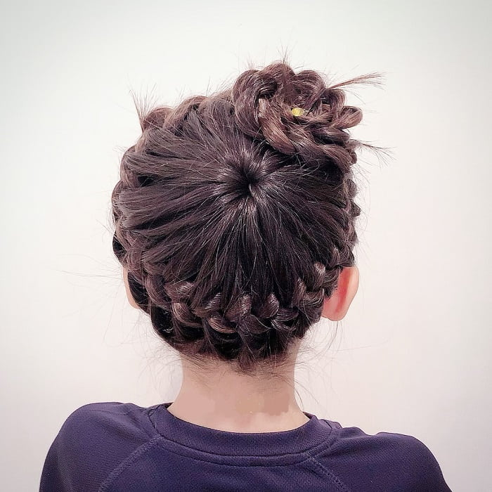 french braided bun for little girls