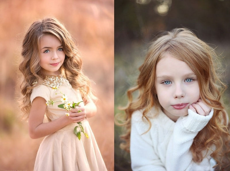 little girl with long wavy hair