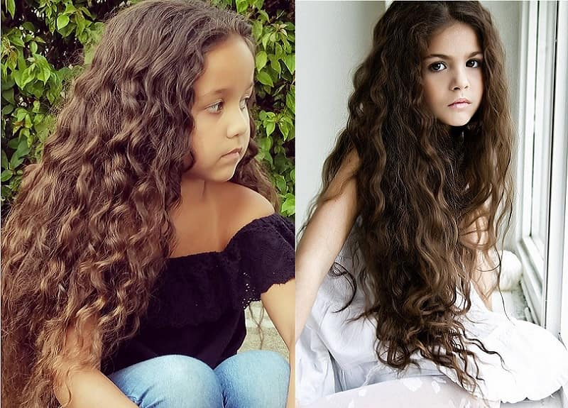 little girl with long curly hair