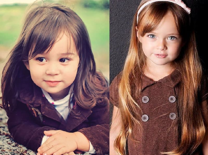 little girl long hair with side fringe
