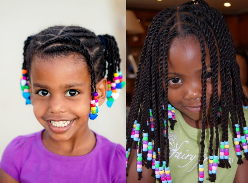 twist braids with beads for little girls