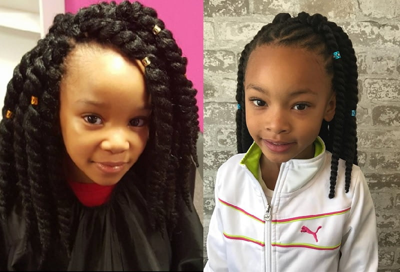 little girl with chunky twists hairstyle