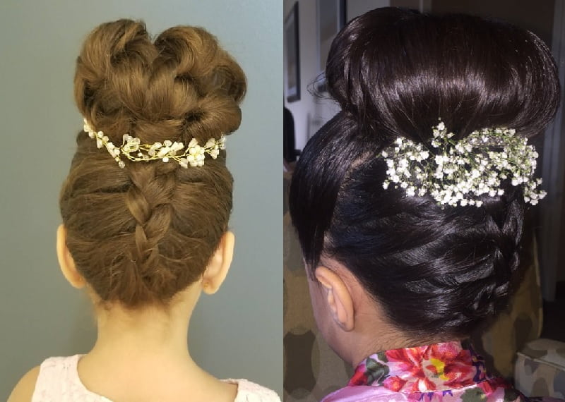 little girl updo with flowers