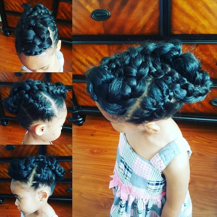 little girl with twisted and braided updo