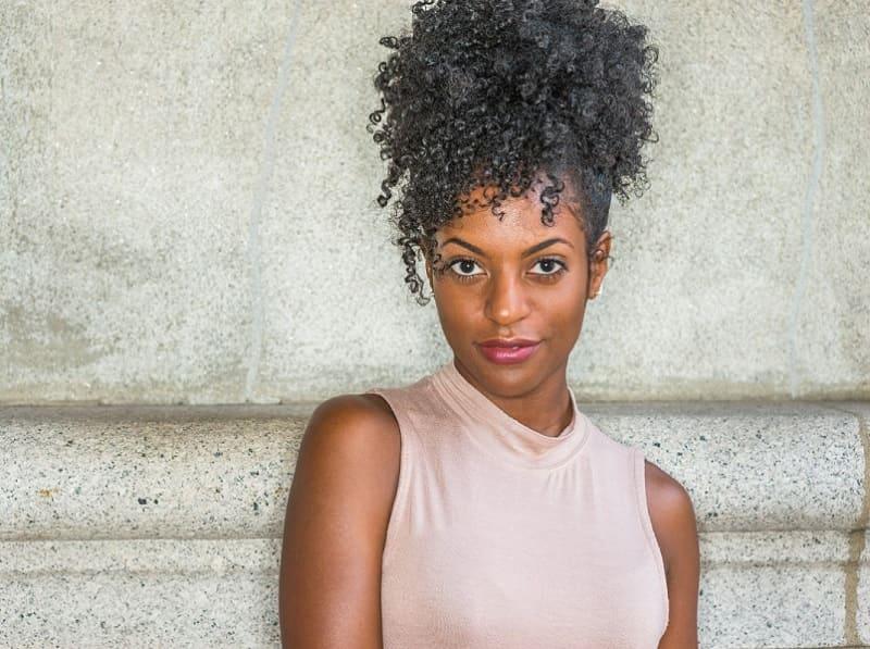 high afro ponytail for black girl
