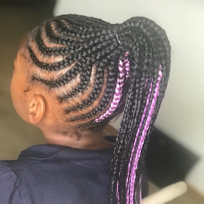 black women braided hairstyle with highlights