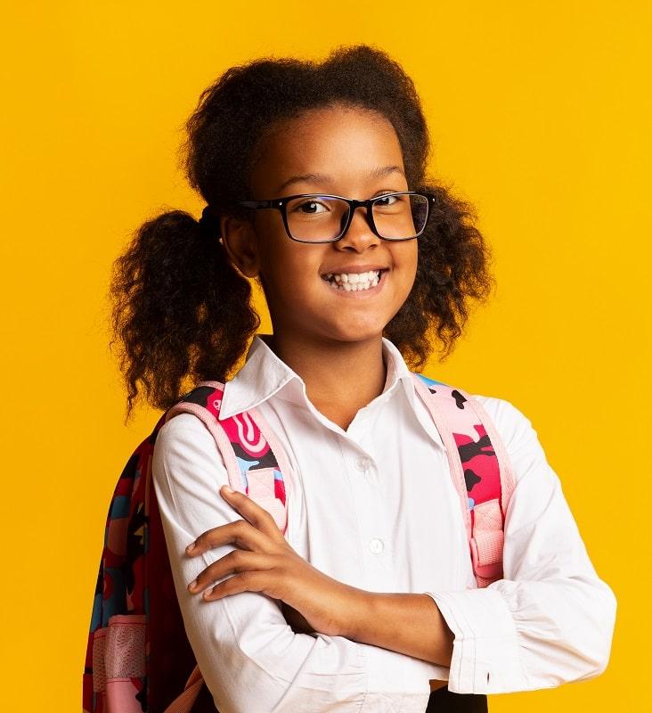 ponytails for little black girl with glasses