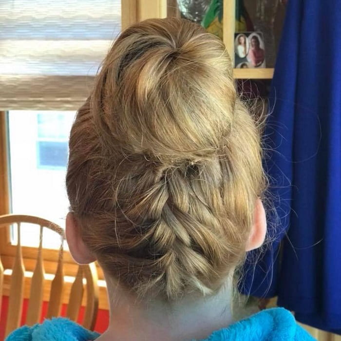 high bun with braid for school girl