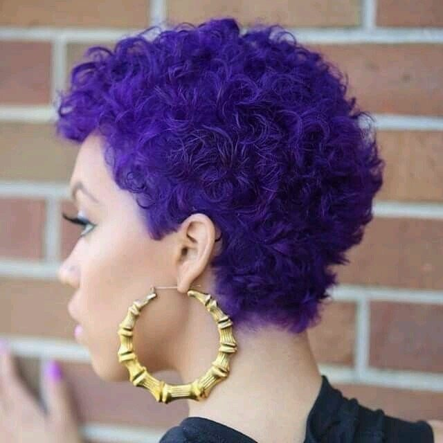 short curly purple hair for black girl