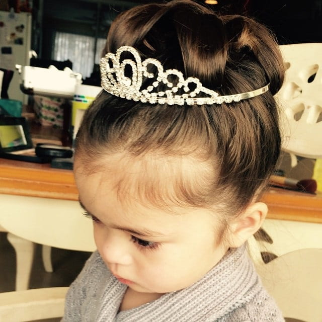 little girl updo with tiara