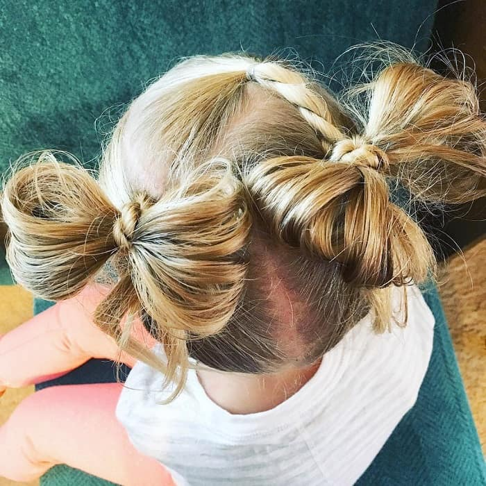 double bow buns for little girls