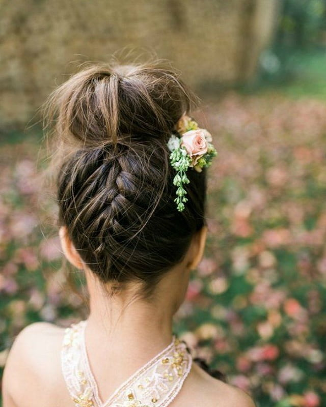 Reverse Braided Wedding Updo for Girls
