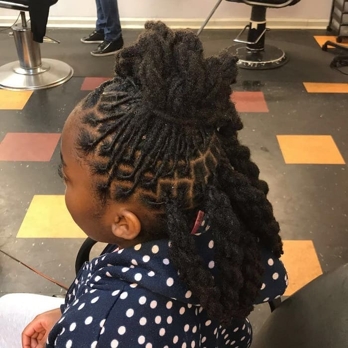 black girl curly hair with twists