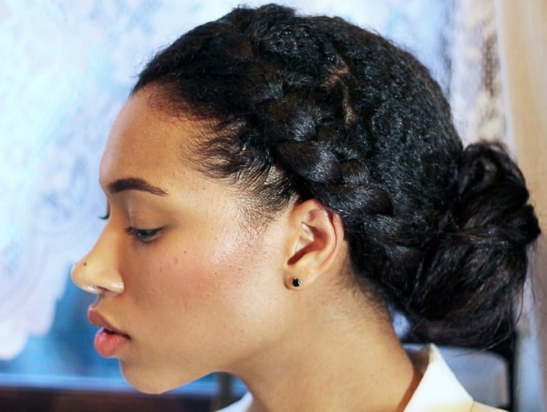 braided bun for black curly hair