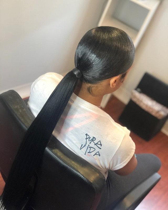 sleek straight ponytail for black girls