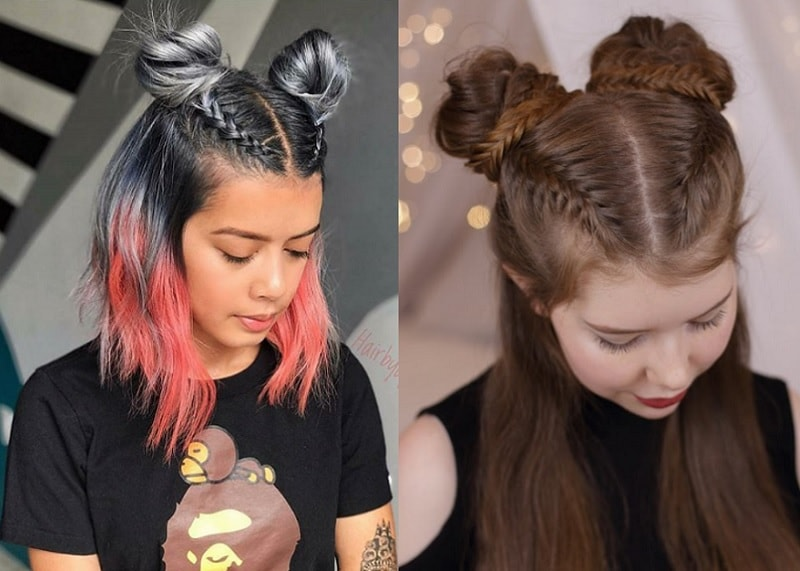 braided space buns for girls