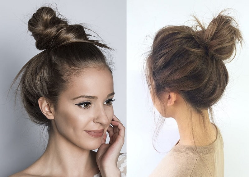 girls top knot hairstyles