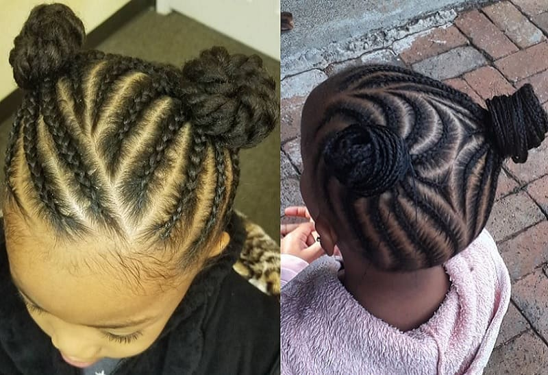 cornrow bun for little girls
