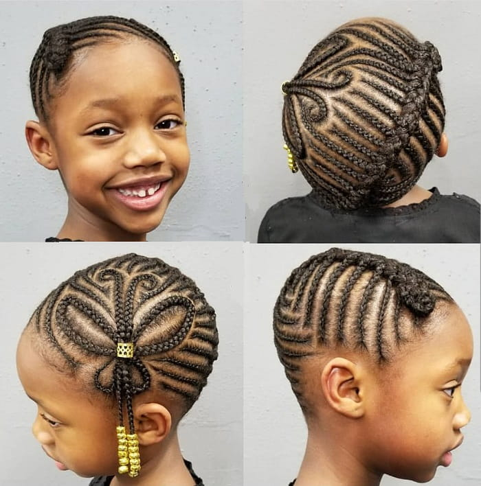 cornrow with design for little girls