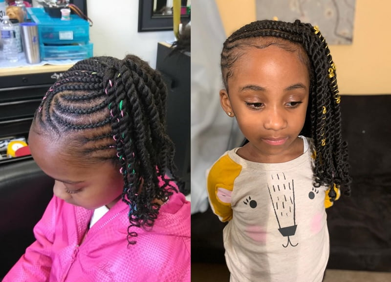 side cornrow ponytail for little girls
