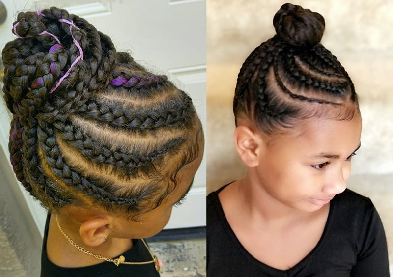 little girl with cornrow bun