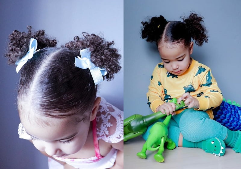 pigtails for little girl curly hair