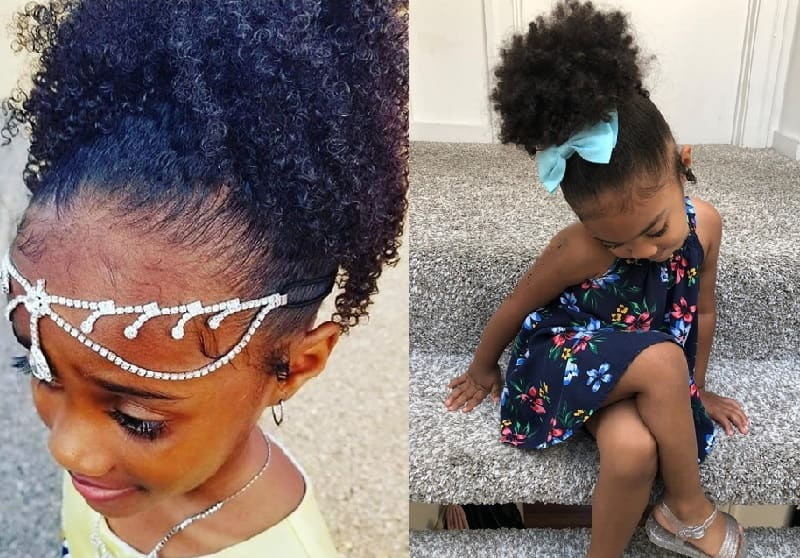 curly high ponytail for little girl