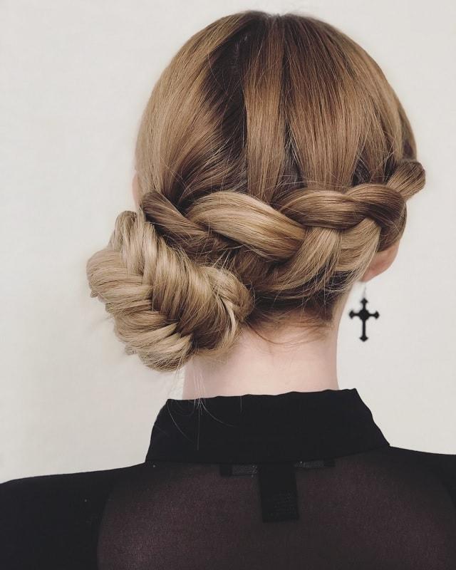 girls braided side bun