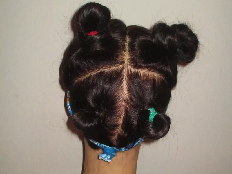 4 sectioned bun hairstyles for girls