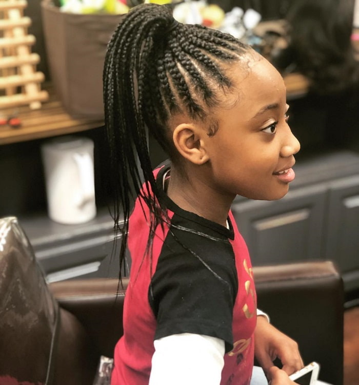 cornrow ponytail for 10 years old black girl