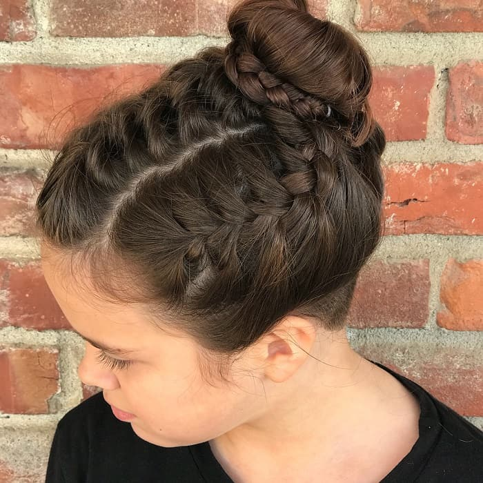 double braids with bun for girls with long hair