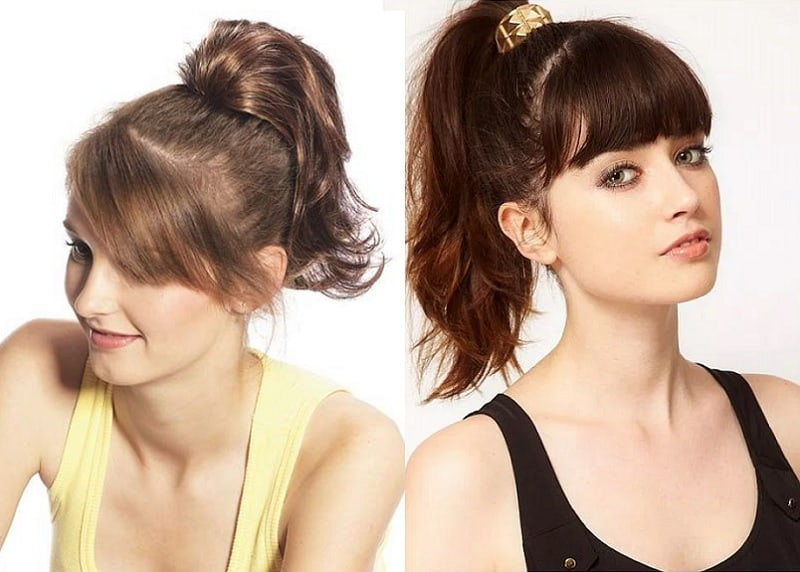 ponytail with bangs styles for girls with medium hair