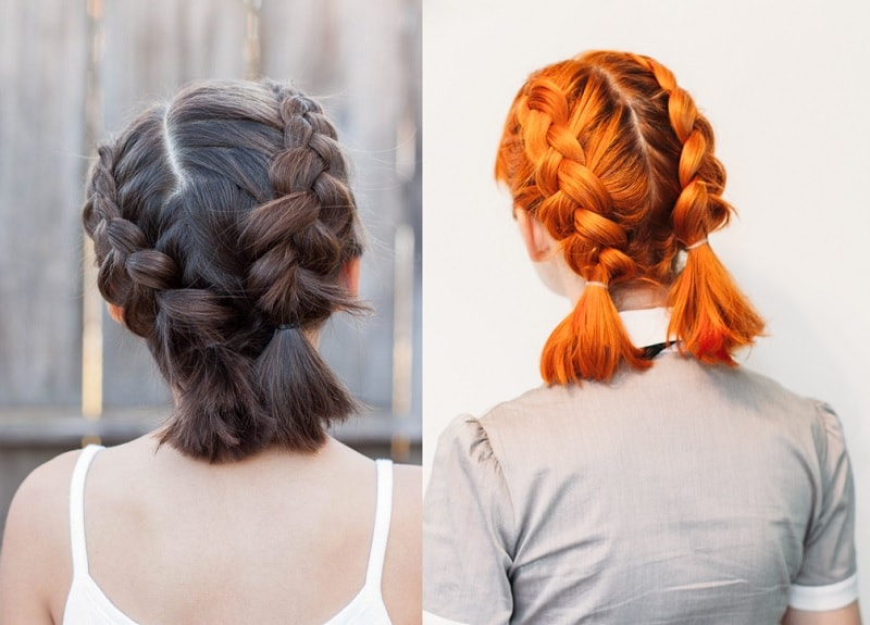 two medium french braids for girls