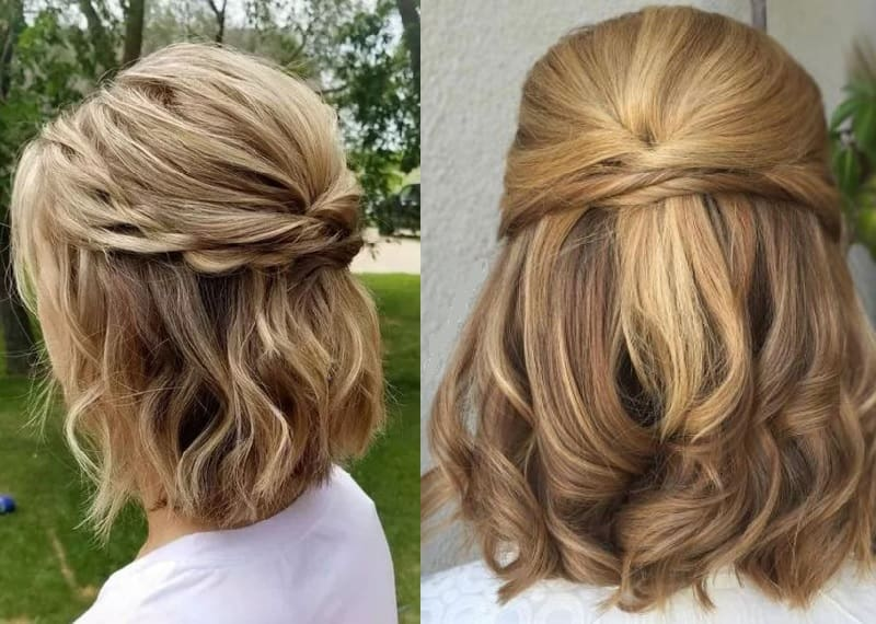 shoulder length twisted updo for girls