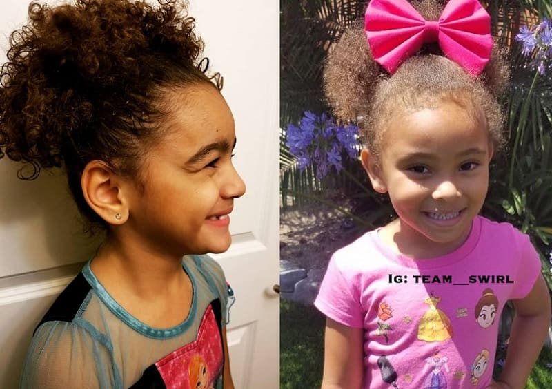 mixed little girls high ponytail