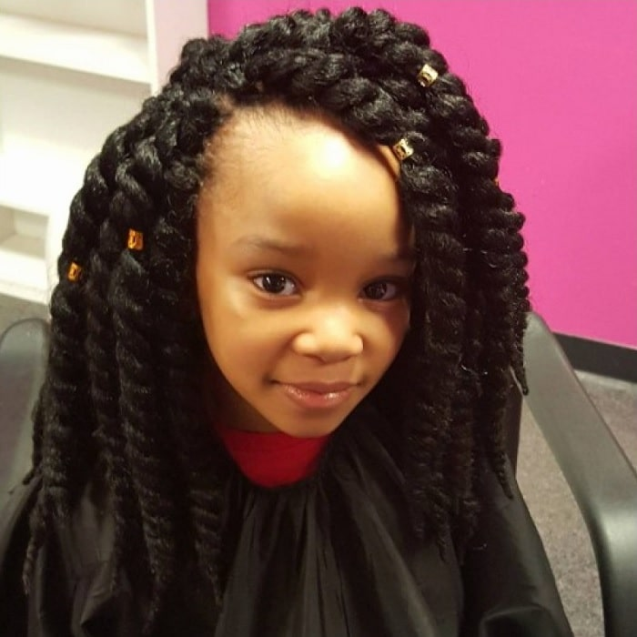 thick braids with weave for little girls
