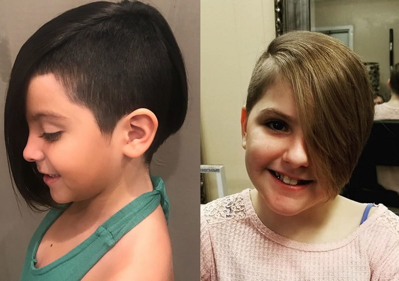 little girls pixie cut with side swept bangs