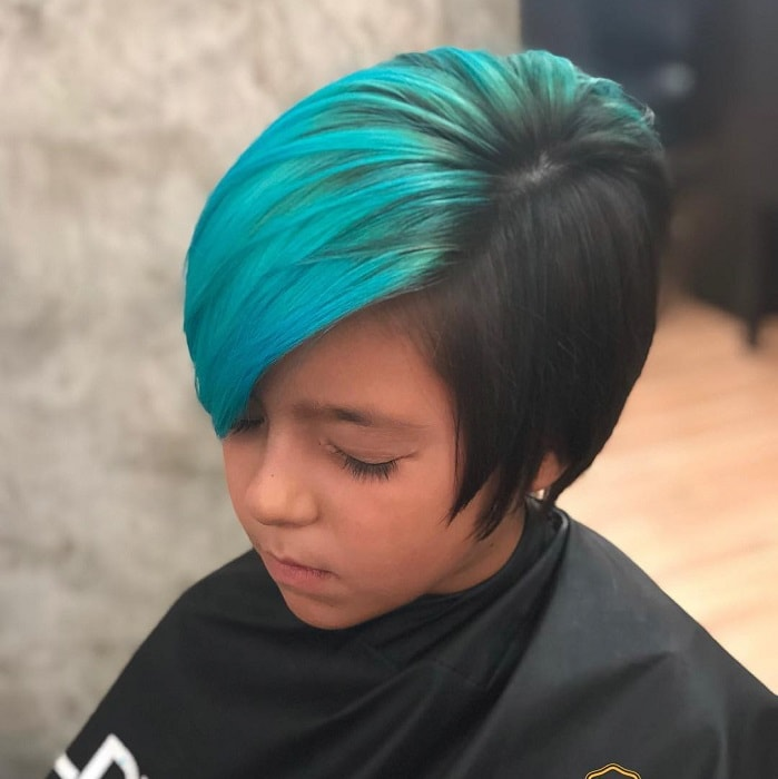 blue and black pixie cut for little girls
